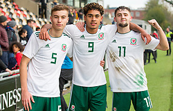 NEWPORT, WALES - Tuesday, November 19, 2019: Wales' Ryan Astley, Christian Norton and Joseph Adams celebrate after Wales beat Kosovo 2-0 in the UEFA Under-19 Championship Qualifying Group 5 match between Kosovo and Wales at Rodney Parade. (Pic by Laura Malkin/Propaganda)