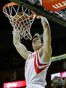 April 21, 2012; Houston, TX, USA; Houston Rockets point guard Goran Dragic (3) dunks against the Golden State Warriors  during the first quarter at the Toyota Center. Mandatory Credit: Thomas Campbell-US PRESSWIRE