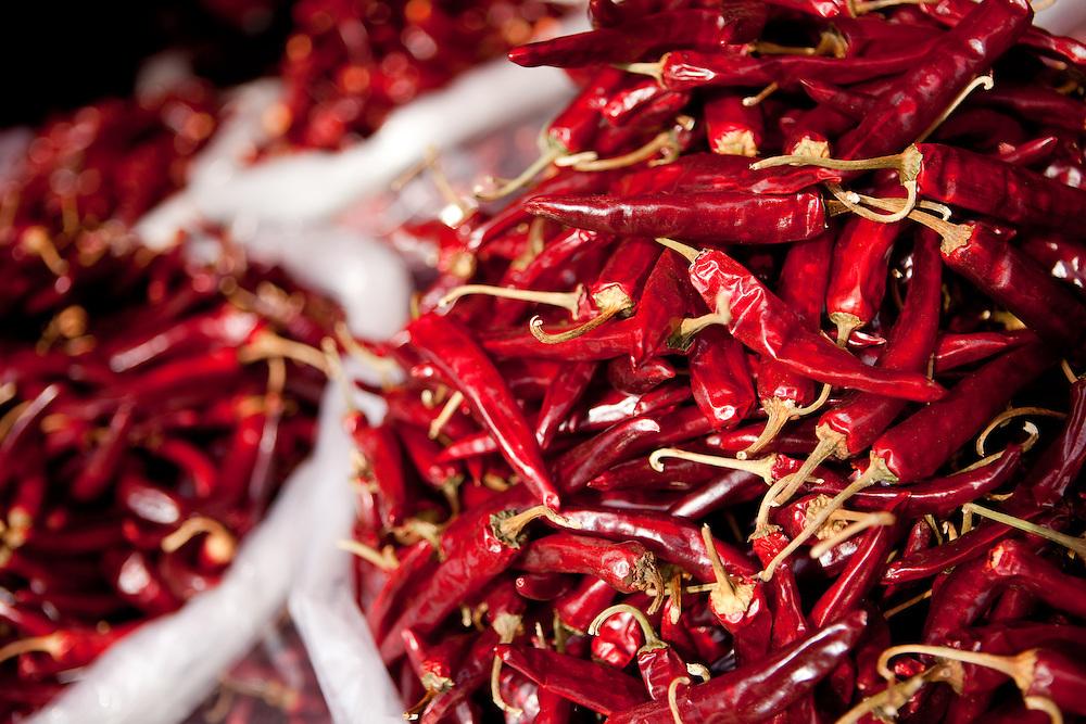 Detail of red hot peppers, traditional Korean food spices. / Gongju, South Korea, Republic of Korea, KOR, 31 November 2009.