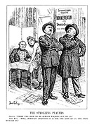 """The Strolling Players. France. """"Those two seem to be always walking out on us."""" John Bull. """"Well, however awkward it is for the rest of us, the show must go on."""" (Hitler and Mussolini as fussy actors of an International Theatre production of 'Non-Intervention - The Spanish Dilemma' as they refuse to read their lines to Act 2)"""