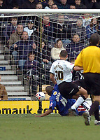 Photo: Leigh Quinnell.<br /> Derby County v Crystal Palace. Coca Cola Championship. 25/03/2006. Clinton Morrison slides home to score for Crystal Palace.