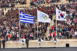 October 31, 2017 - Athens, Attiki, Greece - Greek (left) Olympic (centre) and Korea's flag (right) in the Panathenaic Stadium. The Handover Ceremony of the Olympic Flame for Winter Games PYEONGCHANG 2018, took place today in Panathenaic Stadium in the presence of the President of Hellenic Republic Prokopis Pavlopoulos. (Credit Image: © Dimitrios Karvountzis/Pacific Press via ZUMA Wire)