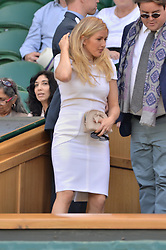 © Licensed to London News Pictures. 06/07/2016. ELLIE GOULDING watch tennis from the Royal Box on the centre court on the tenth day of the WIMBLEDON Lawn Tennis Championships. London, UK. Photo credit: Ray Tang/LNP