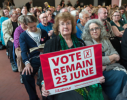 © Licensed to London News Pictures.19/05/2016. Bristol, UK.  Crowd at event for JEREMY CORBYN speaking at a Vote Remain Labour campaign at The Station in Silver Street in Bristol city centre in support of the UK remaining in the EU. Photo credit : Simon Chapman/LNP