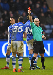 Sheffield Wednesday's Daniel Pudil is red carded by Referee Scott Duncan