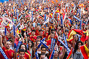 Fans cheering spanish national football team
