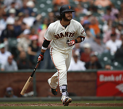 September 20, 2017 - San Francisco, CA, USA - The San Francisco Giants' Brandon Crawford hits a solo home run against the Colorado Rockies in the third inning at AT&T Park in San Francisco on Wednesday, Sept. 20, 2017. (Credit Image: © Nhat V. Meyer/TNS via ZUMA Wire)