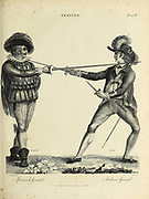 Fencing - Spanish Guard (Left) and Italian Guard (Right) Copperplate engraving From the Encyclopaedia Londinensis or, Universal dictionary of arts, sciences, and literature; Volume VII;  Edited by Wilkes, John. Published in London in 1810