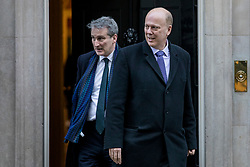 © Licensed to London News Pictures. 08/01/2019. London, UK. Transport Secretary Chris Grayling (R) and Education Secretary Damian Hinds (L) leave 10 Downing Street. Photo credit: Rob Pinney/LNP