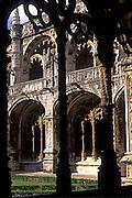 PORTUGAL, LISBON Mosteiro (Monastery) dos Jeronimos 15thc, masterpiece of 'Manueline' architecture; spectacular cloister with marine motifs