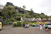 A popular tourist spot, the Crouching Lion Inn on Kamehameha Hwy. Kaaawa, Oahu, Hawaii