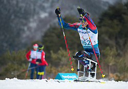 March 17, 2018 - Pyeongchang, South Korea - Bryan Price of the Us during the 7.5km Cross Country Sitting event Saturday, March 17, 2018 at the Alpensia Biathlon Center at the Pyeongchang Winter Paralympic Games. Photo by Mark Reis (Credit Image: © Mark Reis via ZUMA Wire)