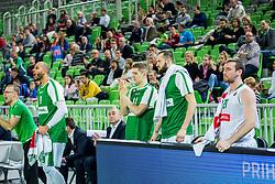 Players of Olimpija celebrate during basketball match between KK Petrol Olimpija and KK Sixt Primorska in Playoffs of Liga Nova KBM, on March 30, 2018 in Arena Stozice, Ljubljana, Slovenia. Photo by Ziga Zupan / Sportida
