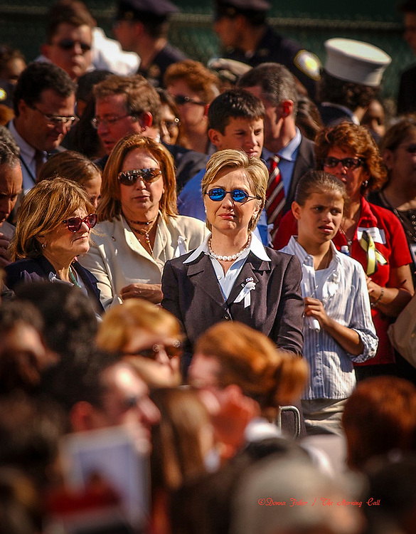 Senator Hillary Clinton, D-NY, at Ground Zero. 9/11 scenes in New York City on September 11, 2001 and at subsequent events relating to the terror attacks on the World Trade Centers in New York City, the Pentagon in Arlington, Virginia and at Shanksville, Pa..