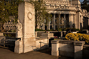 Standing on the south side of the gardens of Trinity Square, London, close to the Tower of London is the Tower Hill Memorial which lists the names of Mercantile Marine casualties from WWI and WWII on the 24th April 2020 in London, United Kingdom.