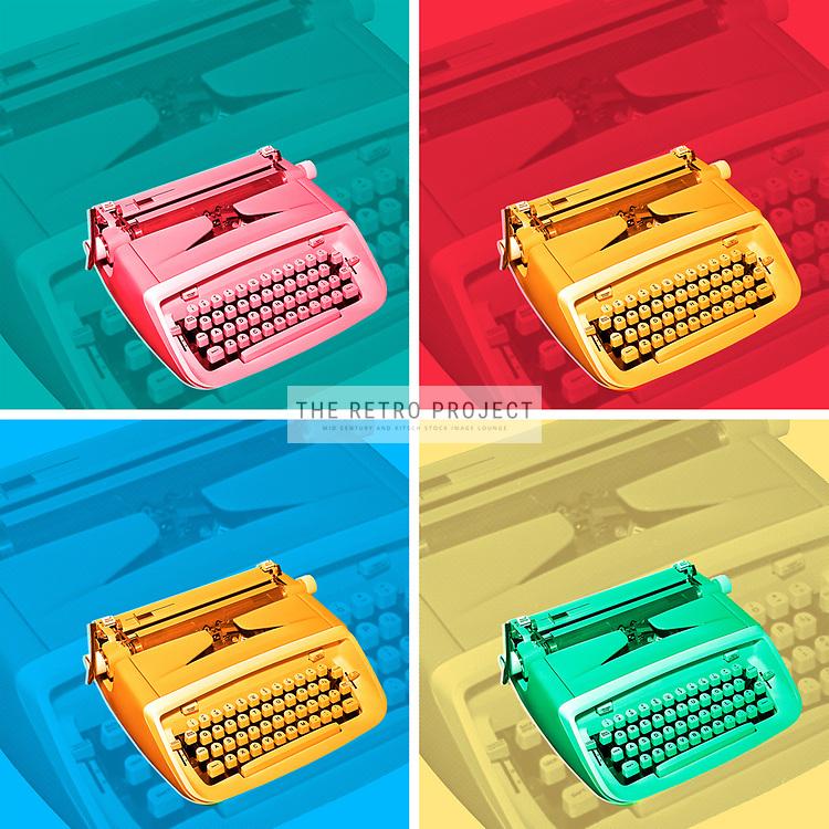 Vintage Mid Century Typewriter Office Colour Repeat Retro Photo illustration on multicoloured background