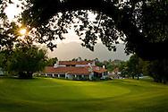 Oak trees and golf course at sunset, Ojai Valley Inn and Spa, Ojai, California
