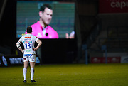 Exeter Chiefs centre Ian Whitten watches as referee Karl Dickson discusses with the Television Match Official before sending off Exeter Chiefs hooker Jack Yeandle during a Gallagher Premiership Round 11 Rugby Union match, Friday, Feb 26, 2021, in Eccles, United Kingdom. (Steve Flynn/Image of Sport)