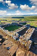 Ruins of  Houseteads Roman Fort, Veronicum, Hadrians Wall , A UNESCO World Heritage Site, Northumberland, England, UK
