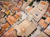 Aerial view above of Concattedrale di Santo Stefano, Nusco, Italy.