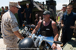 """The Horse Magazine publisher Ralph """"Hammer"""" Janus visiting Camp Lejeune Marine base in NC with friends on the way to the Smokeout 2015. USA. June 17, 2015.  Photography ©2015 Michael Lichter."""