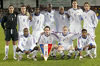 Fotball<br /> Åttendelsfinale EM U21 2004<br /> 18.11.2003<br /> Frankrike v Portugal<br /> Foto: Digitalsport<br /> Norway Only<br /> <br /> FOOTBALL - EUROPEAN UNDER 21 CHAMPIONSHIP 2004 - 1/8 FINAL - 031118 - FRANCE v PORTUGAL - TEAM FRANCE ( BACK ROW LEFT TO RIGHT : NICOLAS PENNETEAU / BENOIT CHEYROU / BERNARD MENDY / ALOU DIARRA / DJIBRIL CISSE / MATHIEU DELPIERRE / PHILIPPE MEXES . FRONT ROW : HABIB BAMOGO / GAEL GIVET / LIONEL MATHIS / PATRICE EVRA ) - PHOTO GUY JEFFROY