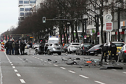 © Licensed to London News Pictures. 15/03/2016. Wreckage at the scene where a driver died after explosive device in suspec6ed car bomb assassination.  At 7am (local time) a car exploded on Berlin's Bismarkstrasse. Berlin, Germany. Photo credit: Ray Tang/LNP