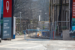 Balfour Beatty site on Laurieston Place. Edinburgh on the day after the Lockdown.