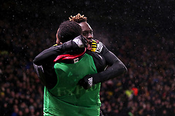 Watford's Domingos Quina celebrates scoring his side's third goal of the game during the Premier League match at Vicarage Road, Watford.