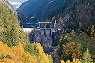 The Gorge Dam and Gorge Lake in North Cascades National Park, Washington State, USA