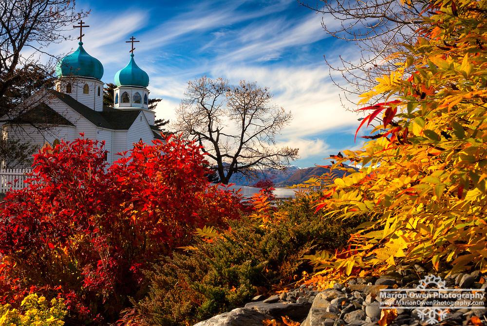 The Holy Resurrection Russian Orthodox Cathedral in fall colors, Kodiak Island, Alaska