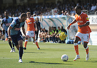 Blackpool's Nathan Delfouneso takes on Wycombe Wanderers' Michael Harriman<br /> <br /> Photographer Kevin Barnes/CameraSport<br /> <br /> The EFL Sky Bet League One - Wycombe Wanderers v Blackpool - Saturday 4th August 2018 - Adams Park - Wycombe<br /> <br /> World Copyright © 2018 CameraSport. All rights reserved. 43 Linden Ave. Countesthorpe. Leicester. England. LE8 5PG - Tel: +44 (0) 116 277 4147 - admin@camerasport.com - www.camerasport.com