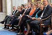 Koning Willem-Alexander en Koningin Máxima reiken Appeltjes van Oranje 2013 en Oranje Fonds Kroonappels uit in Paleis op de Dam.Jaarlijks bekroont het Oranje Fonds met de Appeltjes van Oranje sociale initiatieven die op succesvolle wijze verschillende groepen mensen verbinden. <br /> <br /> King Willem-Alexander and Máxima reach Queen Apples of Orange in 2013 and Oranje Fonds Crown Apples in Palace on Dam.Jaarlijks awarded the Orange Fund with the Apples of Orange social initiatives that different groups of people to successfully connect.<br /> <br /> Op de fotro / On the photo:    Koningin Maxima, koning Willem-Alexander en prinses Beatrix  /  Queen Maxima , King Willem-Alexander and Princess Beatrix
