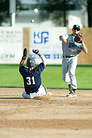 KELOWNA, BC - JULY 24: Second baseman, Nick DiCarlo #16 of the Yakima Valley Pippins throws the ball to first for a double play as Brett Tressen #31 of the Kelowna Falcons slides out at second base at Elks Stadium on July 24, 2019 in Kelowna, Canada. (Photo by Marissa Baecker/Shoot the Breeze)