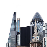 A detail section from the London city skyline  including the iconic Gherkin St Marys Axe and the Leadenhall Building, photographed by commercial and adverting photographer Stuart Freeman.