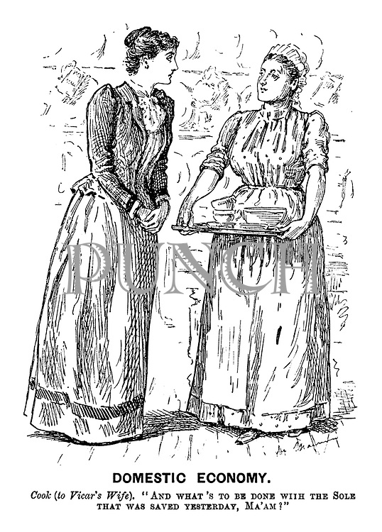 """Domestic Economy. Cook (to Vicar's Wife). """"And what's to be done with the sole that was saved yesterday, Ma'am?"""""""