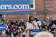 Brooklyn, NY - 2 March 2019. Akila Etienne, a 2017 alumna of Brooklyn College, sings the National Anthem at Bernie Sanders' first rally for the 2020 presidential primary at Brooklyn College.