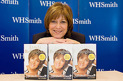 """Lynda Bellingham of TV Show """"Loose Women"""" currently appearing in the stage show of Calendar Girls, signs copies of her autobiography """"Lost And Found"""" at WH Smiths Meadowhall Sheffield.Linda is also set to return to her role as the OXO mum more than 10 years after the adverts were dropped Friday 16 April 2010. .Images © Paul David Drabble."""