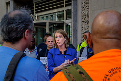 June 14, 2018 - New York, New York, United States - Constitutional law professor and candidate for Attorney General of the State of New York, Zephyr Teachout joined the picket line of Spectrum workers who have been on strike for over 400 days amid changes to their benefits following the company's merger with Charter Communications. She spoke on how she will use the powers of the Attorney General's office to protect both workers and consumers from future large mergers. (Credit Image: © Erik Mcgregor/Pacific Press via ZUMA Wire)
