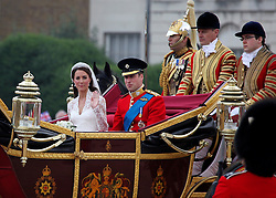 LOCATION, UK  29/04/2011. The Royal Wedding of HRH Prince William to Kate Middleton.The Wedding Procession of Prince William and Kate Middleton passes through Horseguards Parade..Photo credit should read CRAIG SHEPHEARD/LNP.