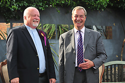 © Licensed to London News Pictures. 03/06/2017<br /> Nigel Farage with Rev Stuart Piper after the talk.<br /> Nigel Farage speaking at a UKIP public meeting in Ramsgate,Kent at Townley Hall in support of UKIP Thanet candidate REV Stuart Piper.<br /> Photo credit: Grant Falvey/LNP