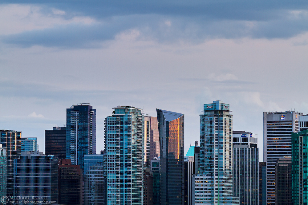 Shaw Tower, MNP Tower, Fairmont Pacific Rim Hotel, Royal Bank Tower and other taller buildings in downtown Vancouver, British Columbia, Canada.  Photographed from North Vancouver.