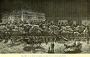 Nineteenth Century image of the Madrid Prado illuminated with electric light From the Book Les merveilles de la science, ou Description populaire des inventions modernes [The Wonders of Science, or Popular Description of Modern Inventions] by Figuier, Louis, 1819-1894 Published in Paris 1867