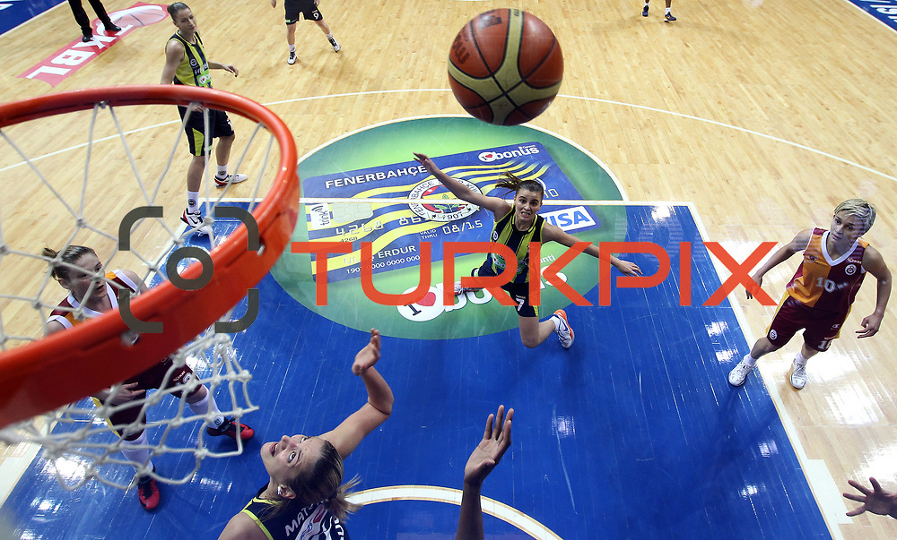 Fenerbahce's Birsel Vardarli (C) during their Turkish Basketball woman league derby match Fenerbahce between Galatasaray at Ulker Sports Arena in Istanbul, Turkey, wednesday, December 26, 2012. Photo by Aykut AKICI/TURKPIX