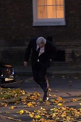 London, November 22 2017. Secretary of State for Exiting the European Union David Davis appears to tip on his way to attend the UK cabinet meeting at Downing Street. © Paul Davey