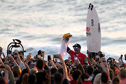 October 20, 2018 - Peniche, Portugal - Italo Ferreira of Brazil celebrates the victory of the World Surf League MEO Rip Curl Pro Portugal, the 10th event of the WSL Men's Championship Tour, at the Supertubos beach in Peniche, Portugal, on October 20, 2018. (Credit Image: © Pedro Fiuza/ZUMA Wire)