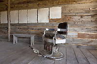 Antique barber chair in saloon, Bannack State Park Montana