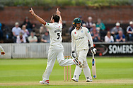 Wicket - Tim Groenewald of Somerset celebrates taking the wicket of George Rhodes of Worcestershire during the Specsavers County Champ Div 1 match between Somerset County Cricket Club and Worcestershire County Cricket Club at the Cooper Associates County Ground, Taunton, United Kingdom on 22 April 2018. Picture by Graham Hunt.