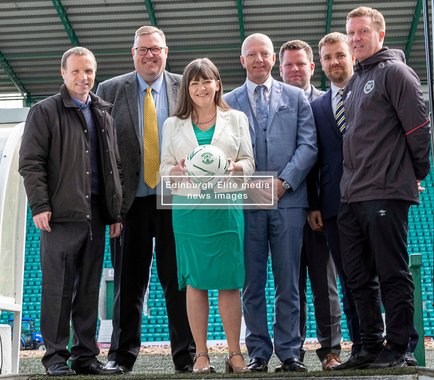 Pictured:  Mickey Weire, Councillor Stuarey Currie, Clare Haughey, George Dodds, Directory of Equity at NHS Scotland Health, David McCardle SFA, Calum Beattie, SPFL Trust and Gary Locke<br />