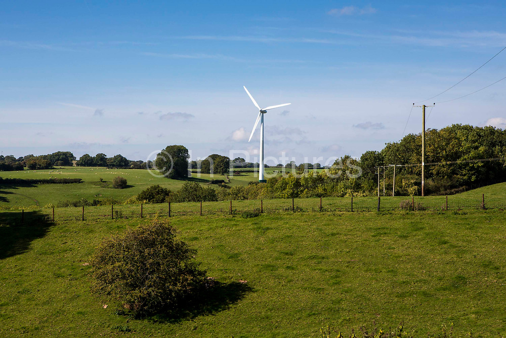 St Briavels wind turbine surrounded by farmland at Great Dunkilns Farm, St. Briavels, Lydney, a project supported by the Resilience centre, Forest of Dean. Gloucestershire.